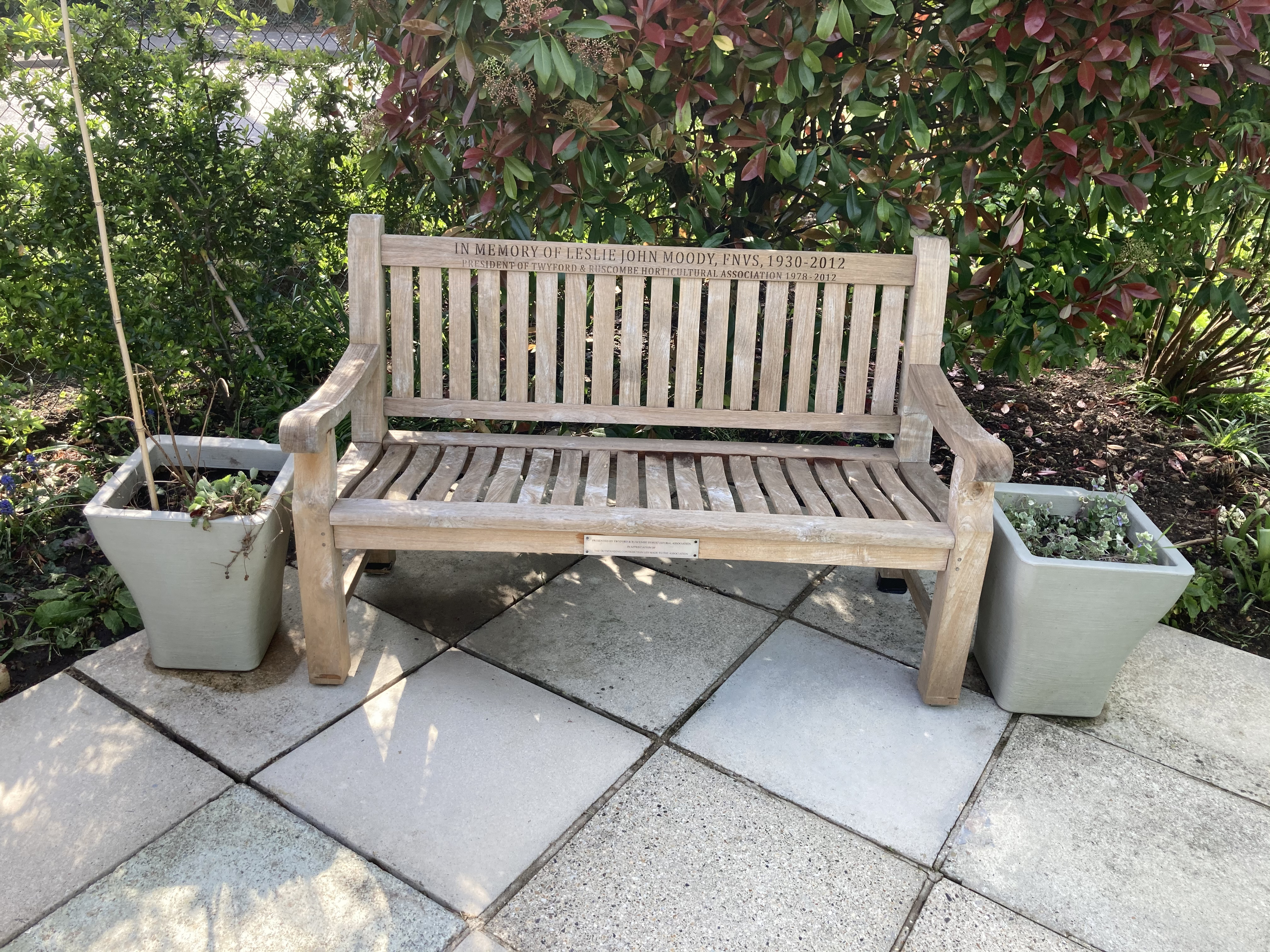 The memorial bench to our former President Les Moody
